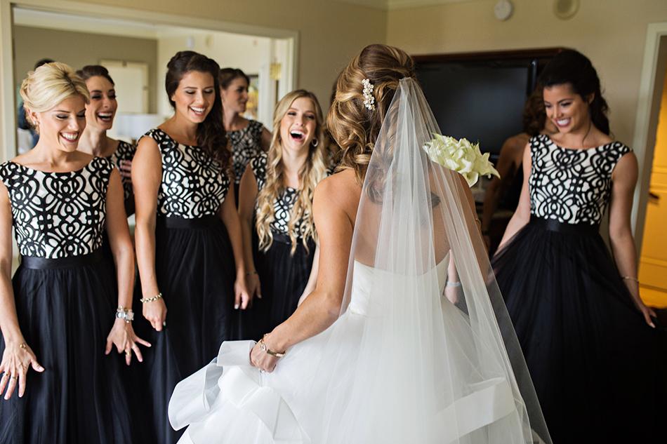 Bride reveal dress to bridesmaids