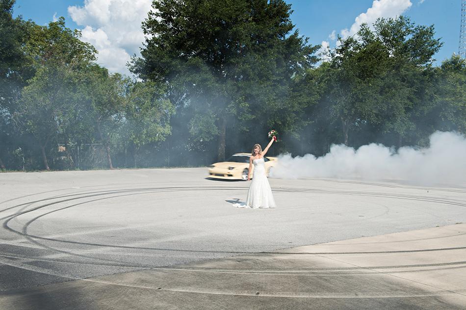 wedding day drifting cars