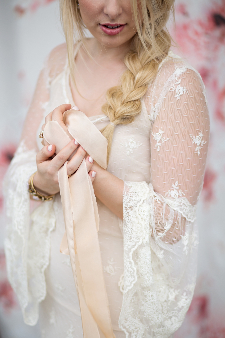 ivory silk ribbon and wedding hair with braids