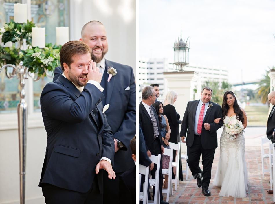 groom seeing bride walking down the aisle