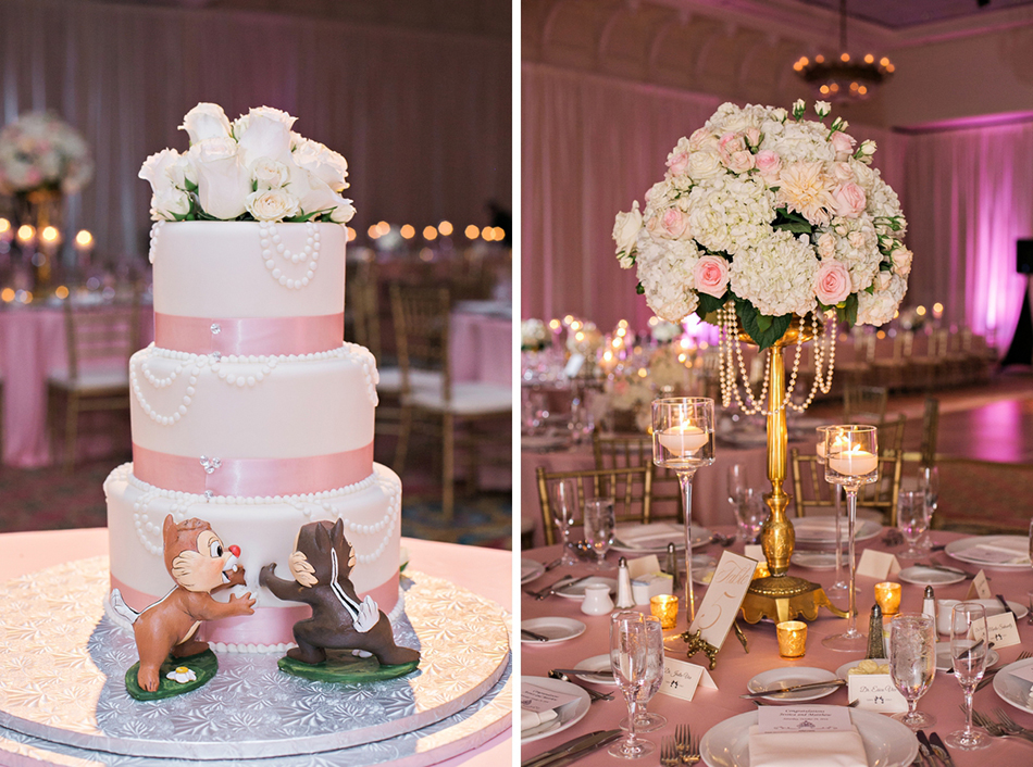 Cute Disney wedding cake with Chip and Dale