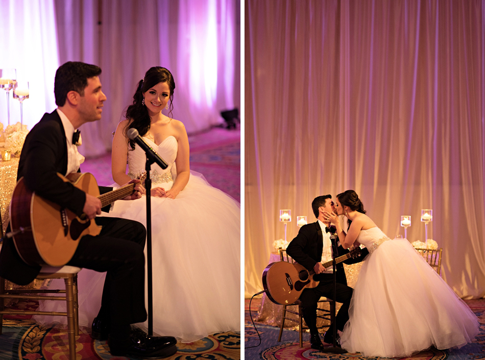 Groom serenading bride at wedding reception