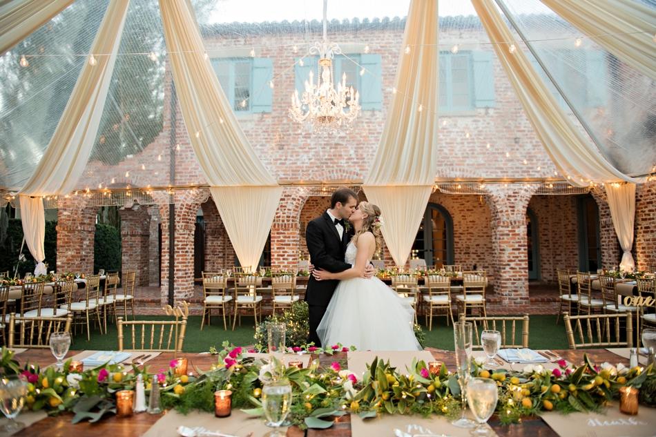 unique reception space, outdoor tented reception at Casa Feliz in Winter Park