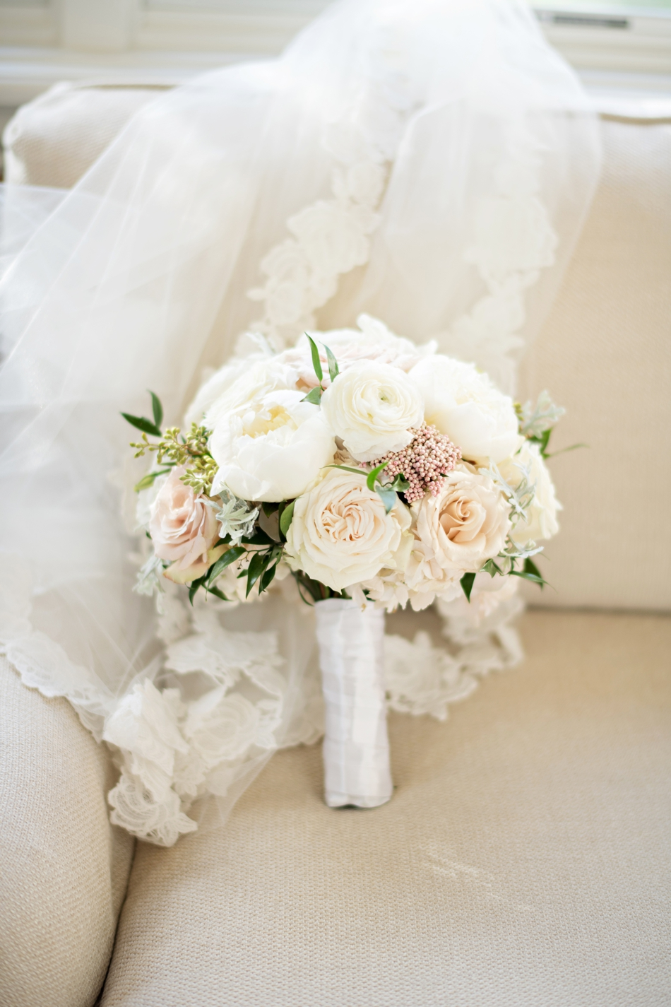 Classic wedding bouquet with white roses