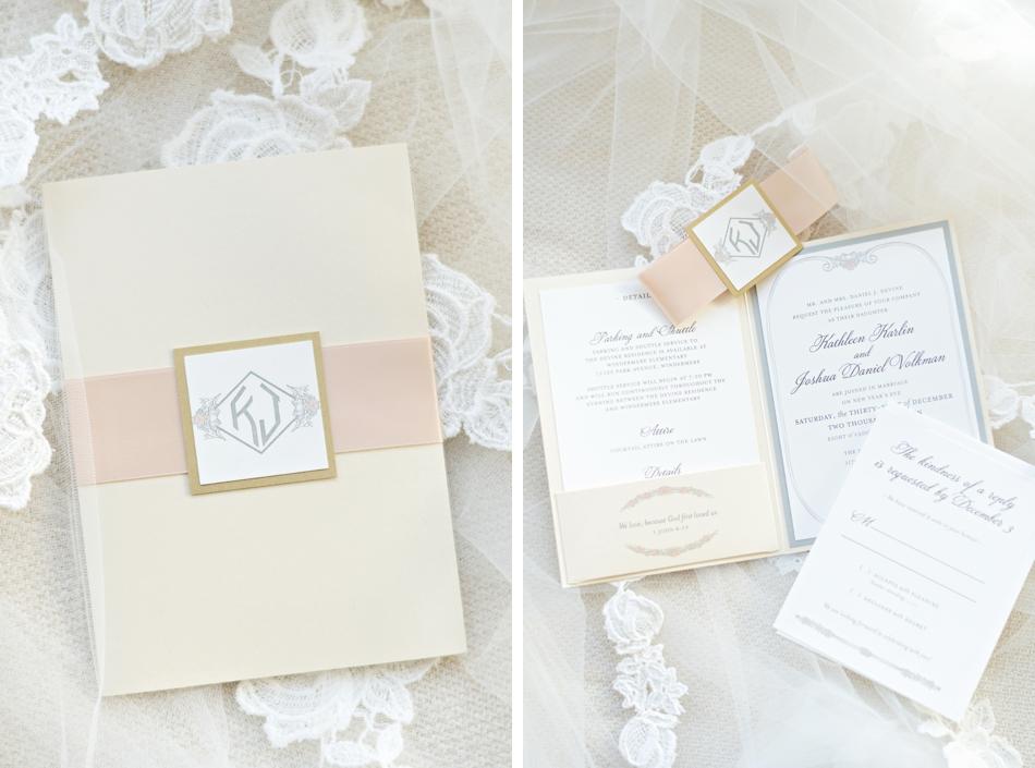 Classic ivory and white wedding stationery