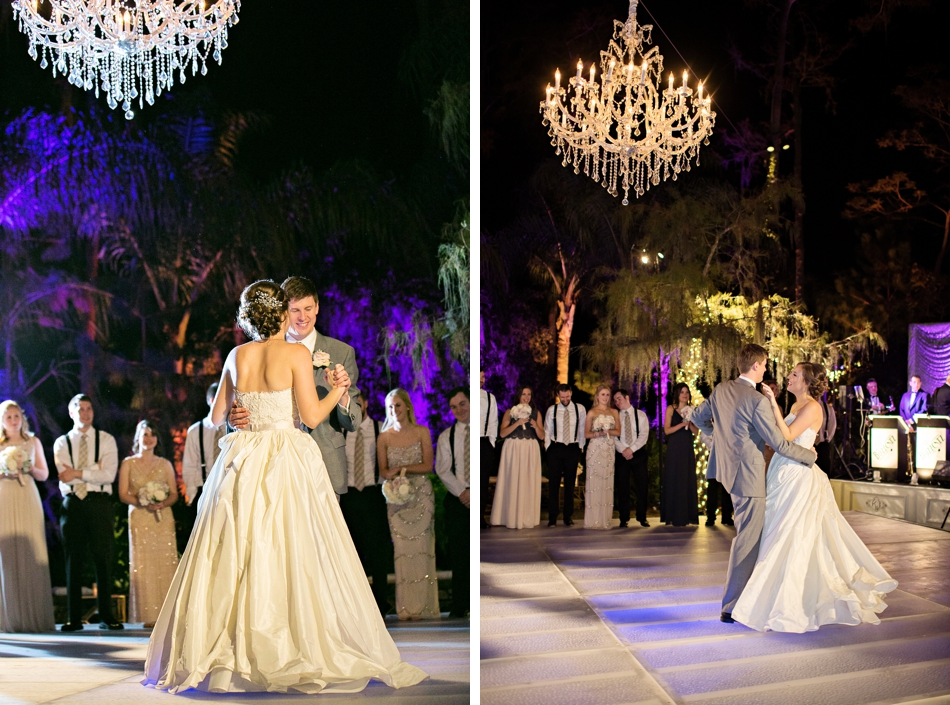 outdoor reception with a pool covered dance floor