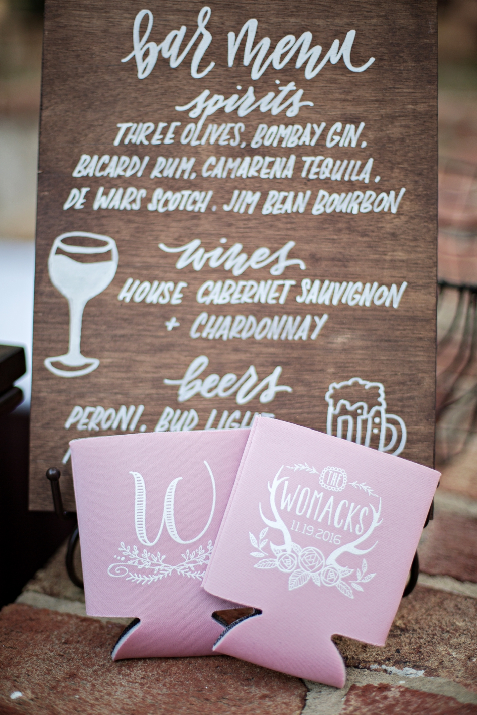 bar menu and custom koozies for wedding