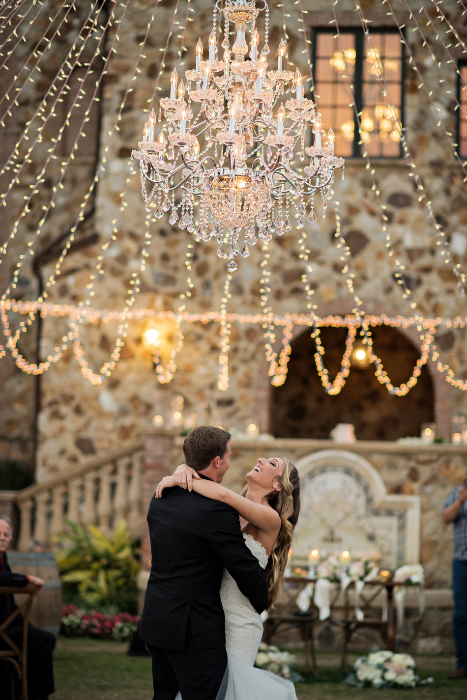 reception chandelier first dance