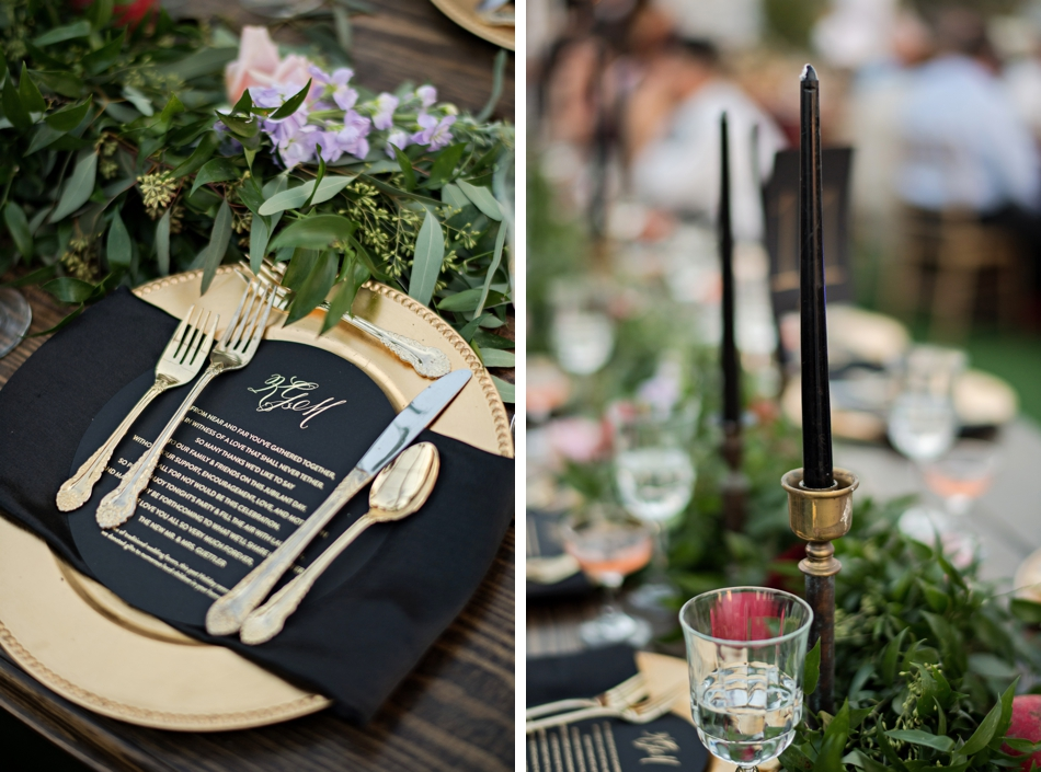 gold and black wedding details