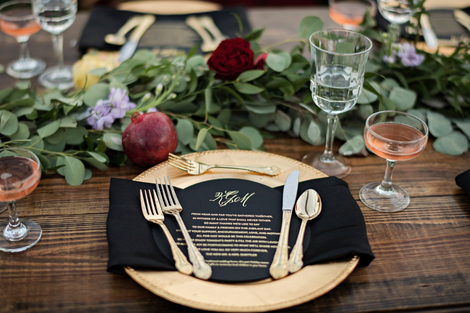 Monogram wedding menu