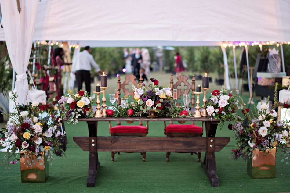 bride and groom unique sweetheart table