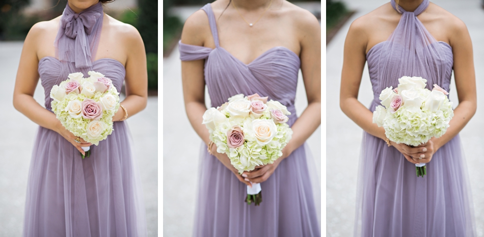 lavender bridesmaids gowns and bouquets