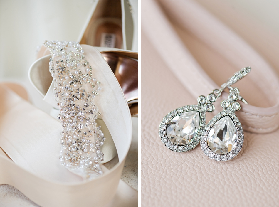 pink and ivory bridal details