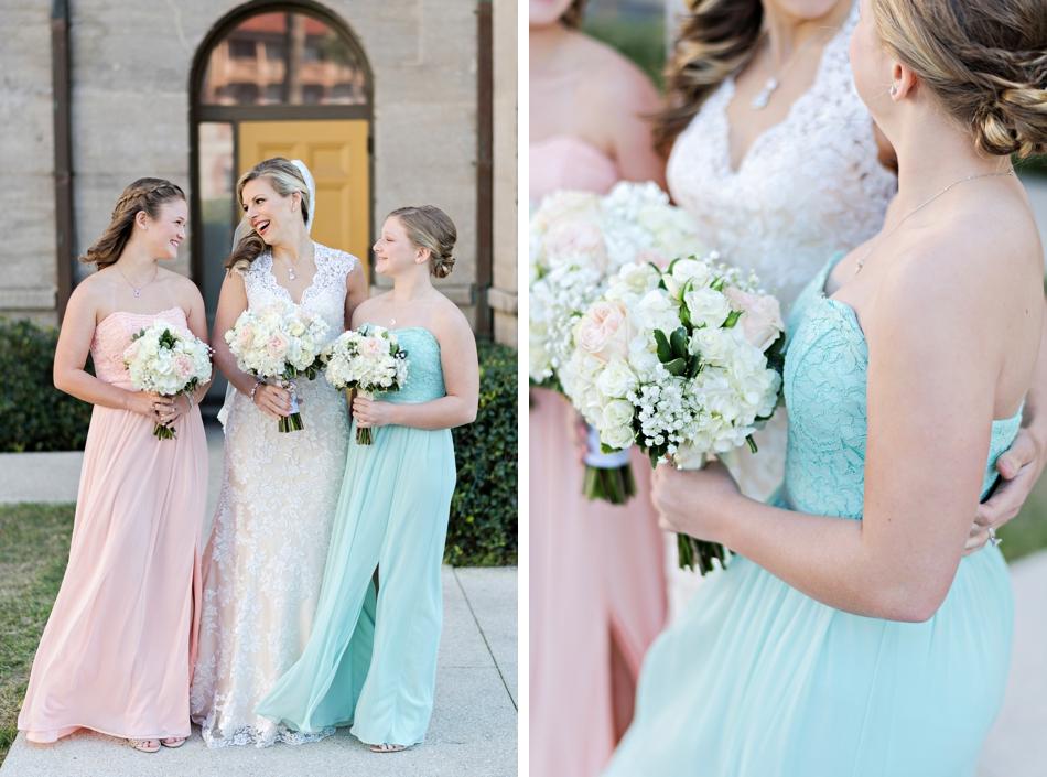 teal and pink bridesmaids
