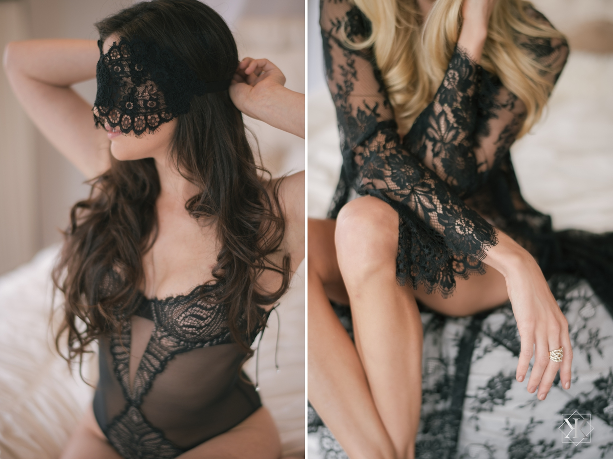 girl and a serious dream lace robe