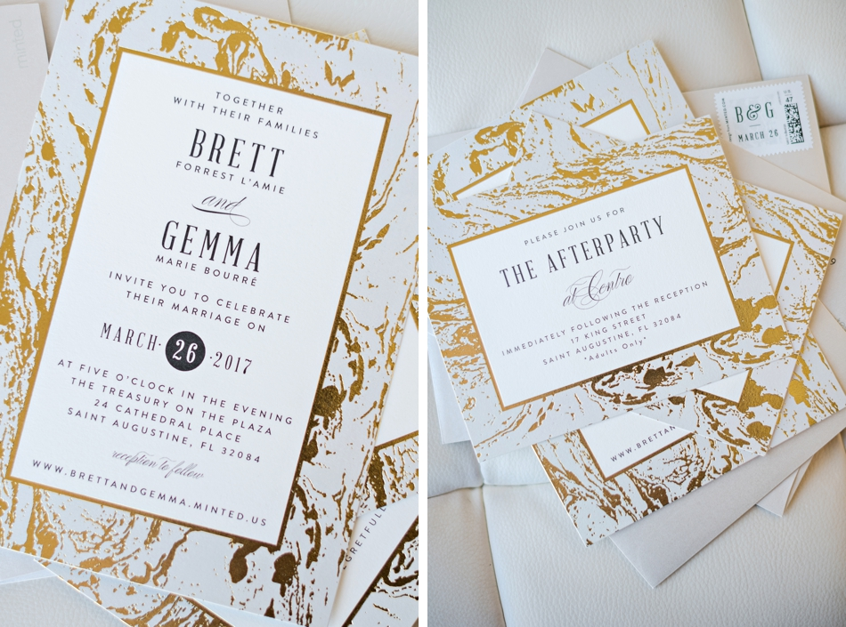 metallic marble wedding invitation suite