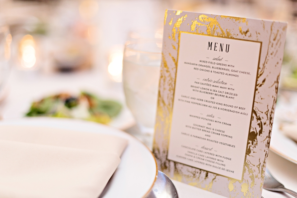 gold marble wedding menu