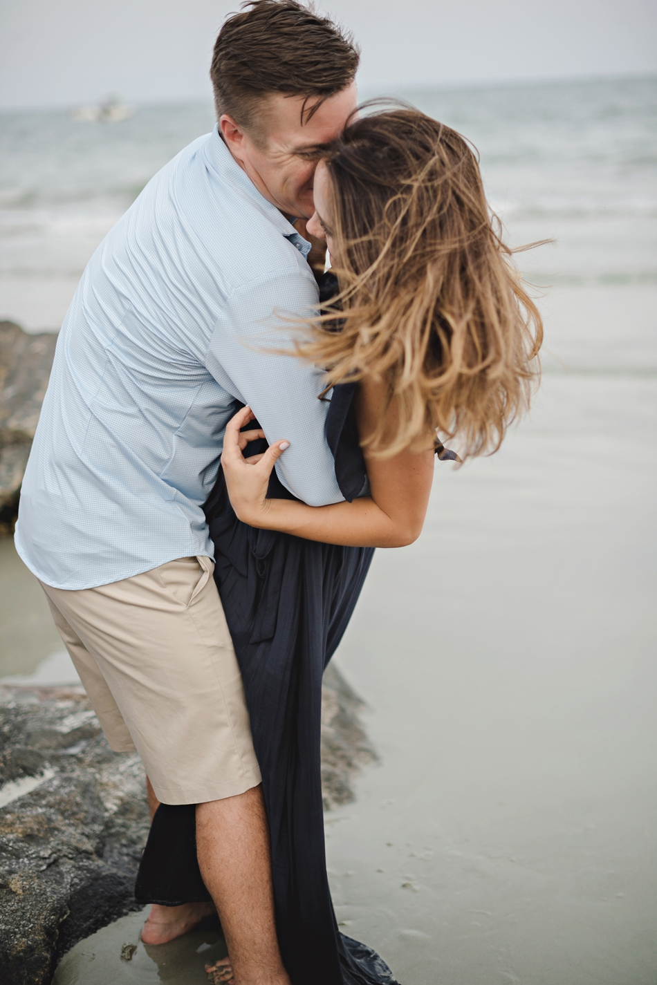 romantic windy engagement pictures