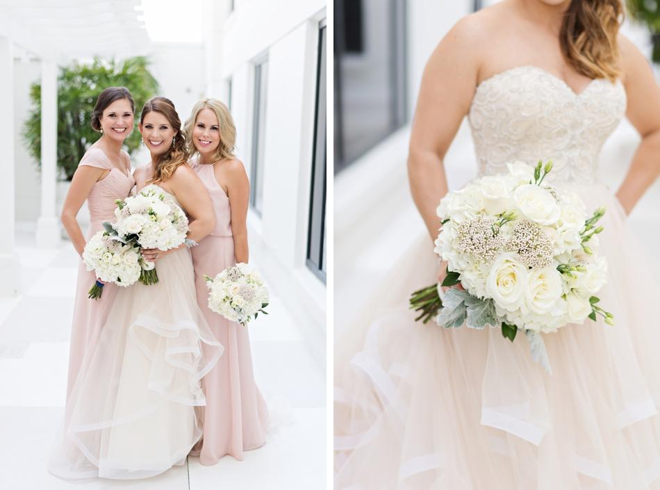 Bride holding ivory bouquet