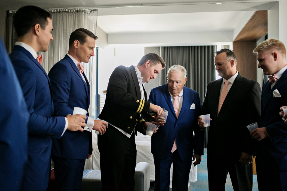 Groomsmen giving a toast