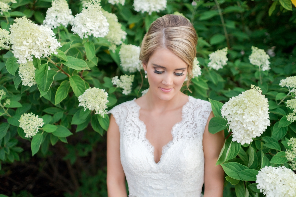 lace wedding dress and bridal hair