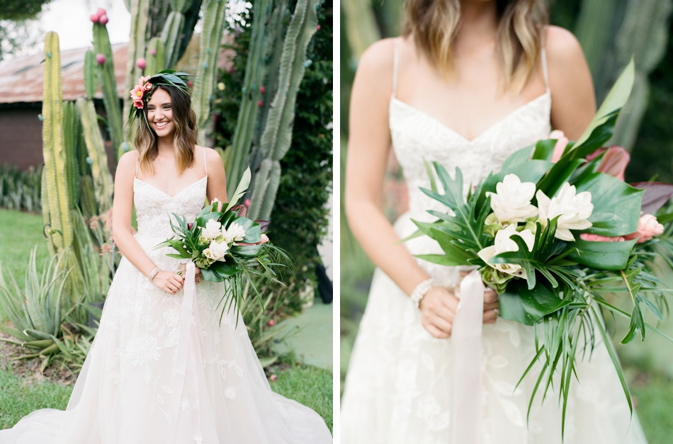 tropical bridal style and bouquet