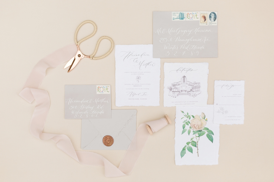 letra bohemia wedding stationery