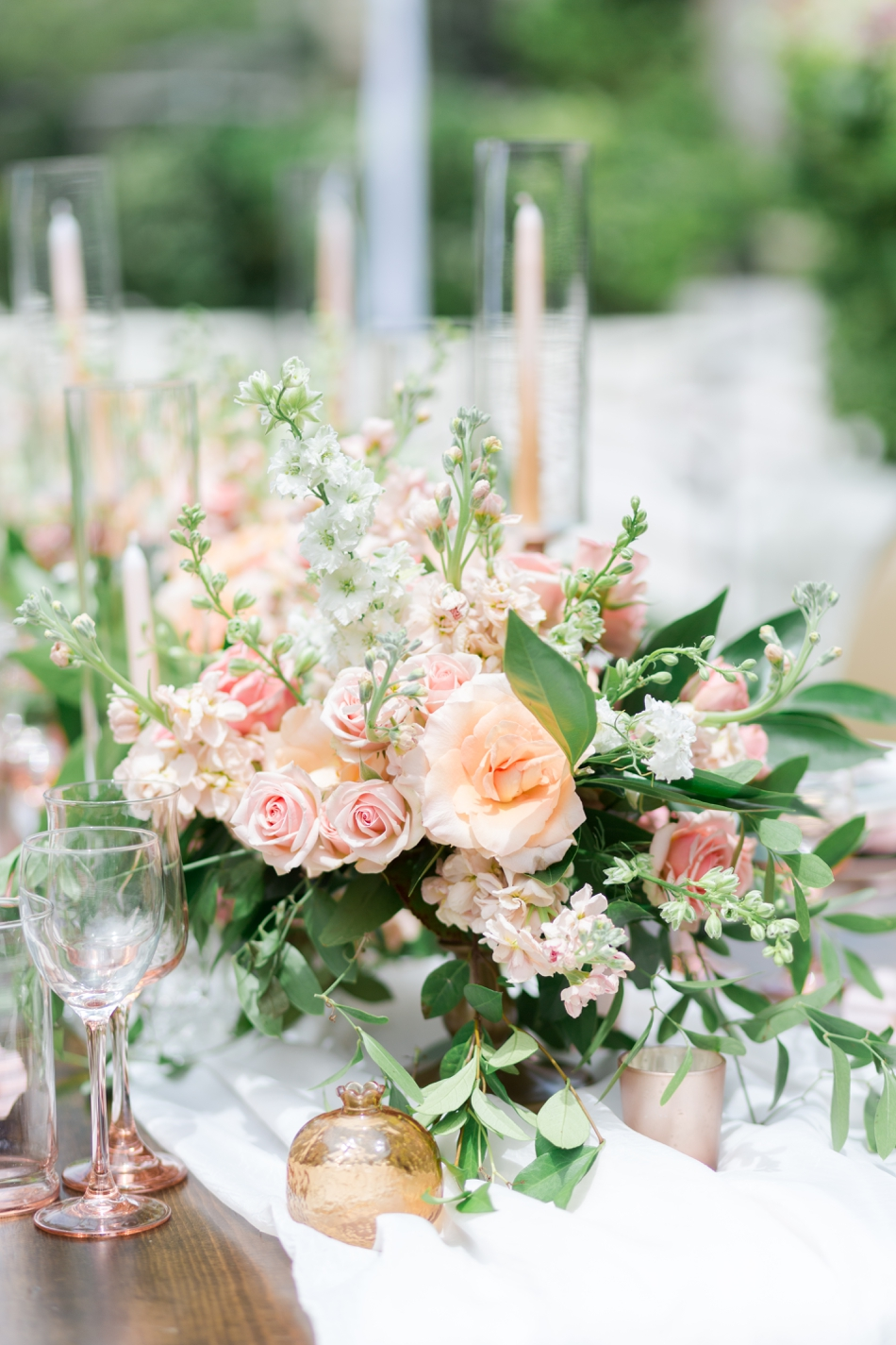 peach wedding flowers and reception decor