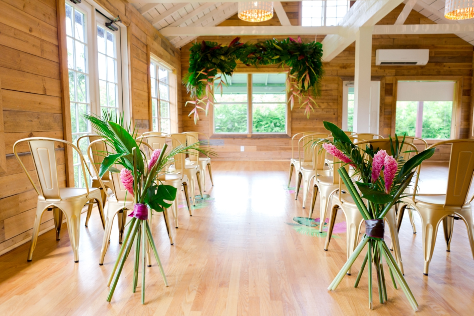 indoor ceremony for tropical wedding