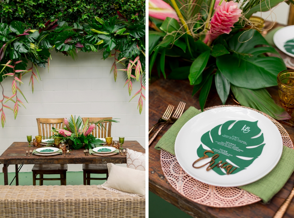 tropical reception decor