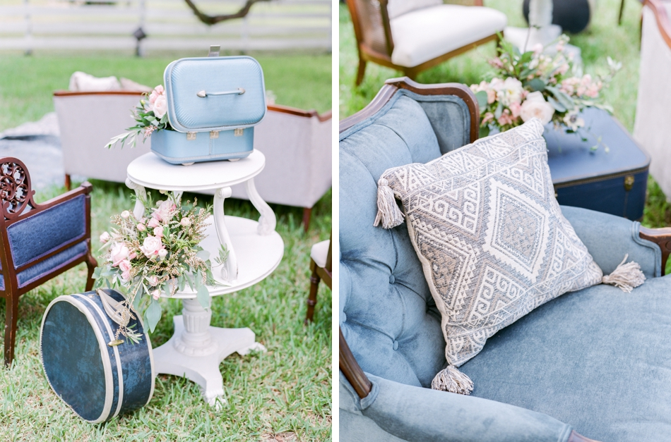 vintage luggage at ceremony