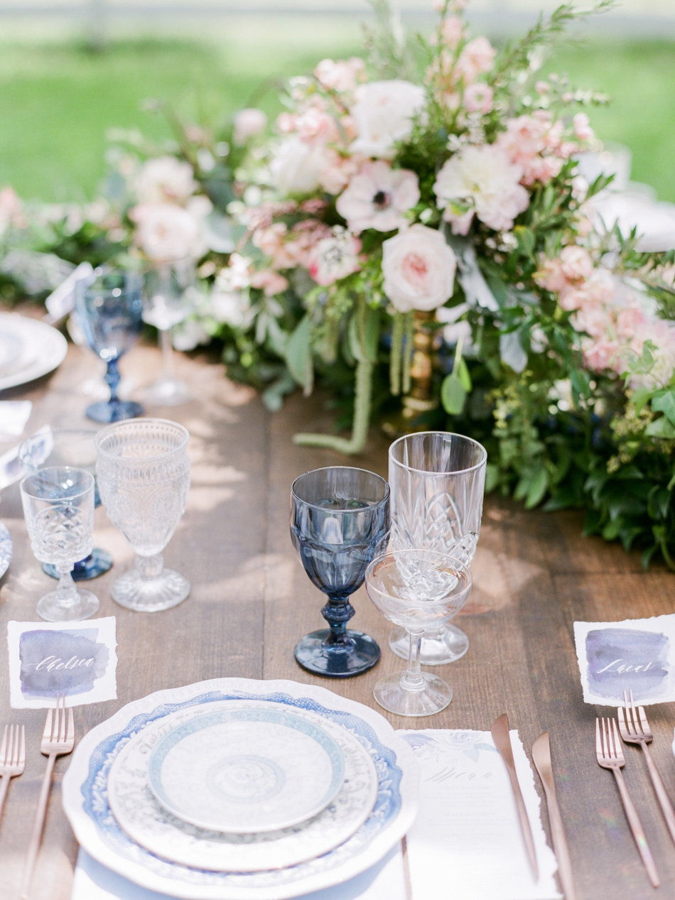 colored glass goblets for reception