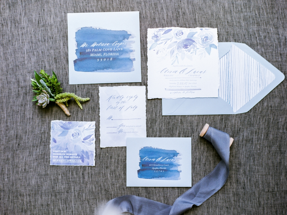blue wedding invitations custom