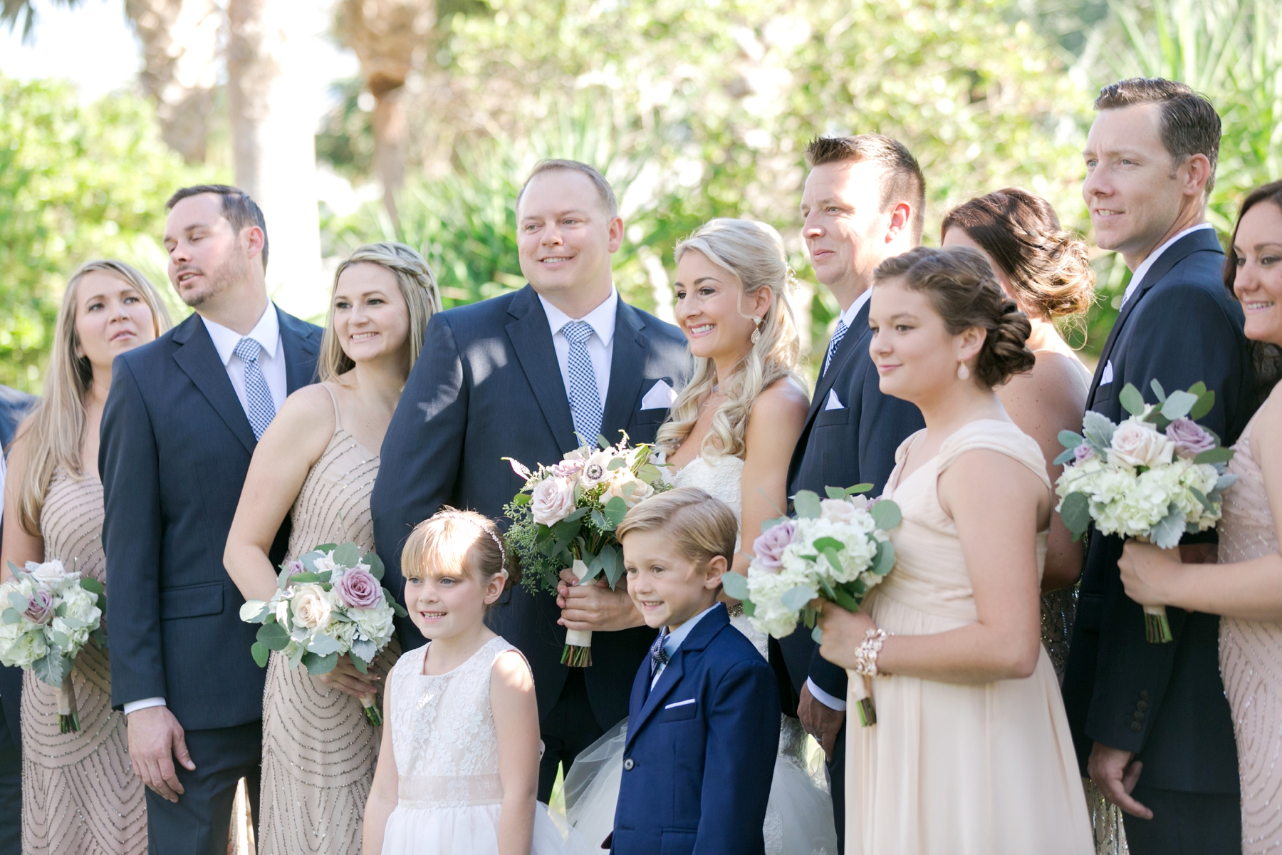 navy and blush wedding party