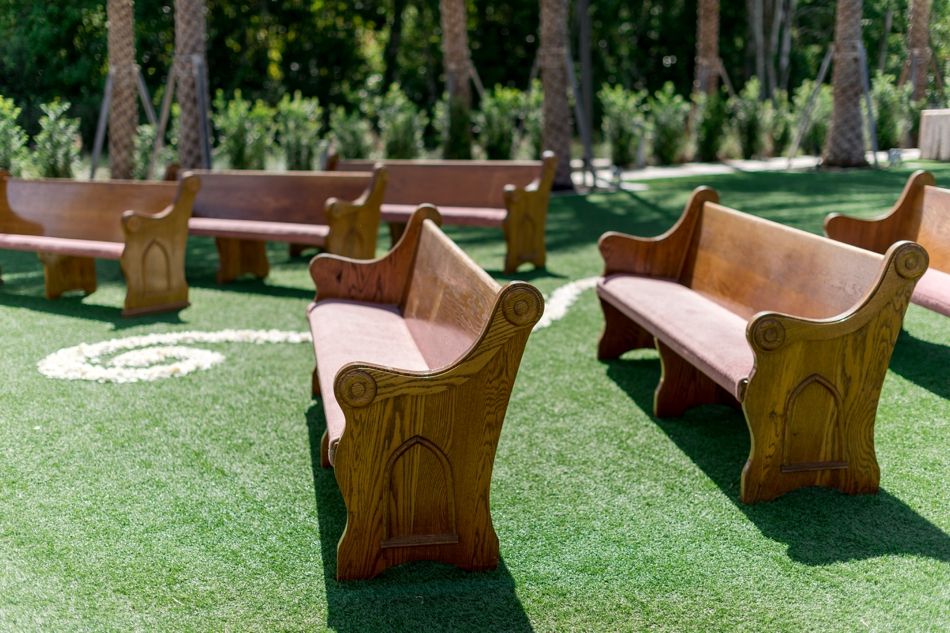 lawn pews for wedding ceremony