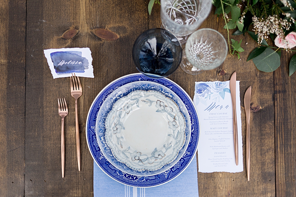 vintage blue table plates