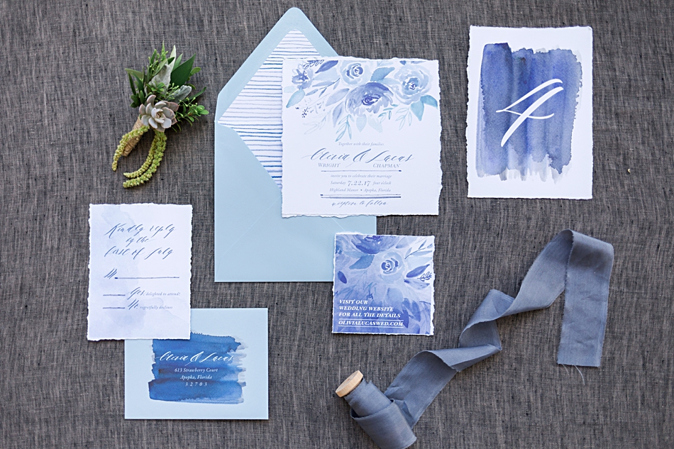 blue watercolor handpainted wedding invitations