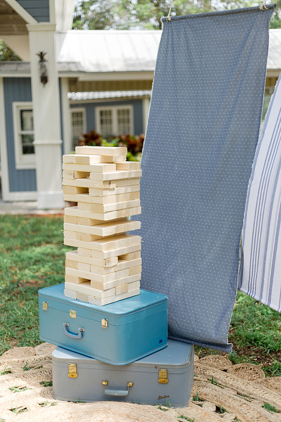 large jenga game at wedding