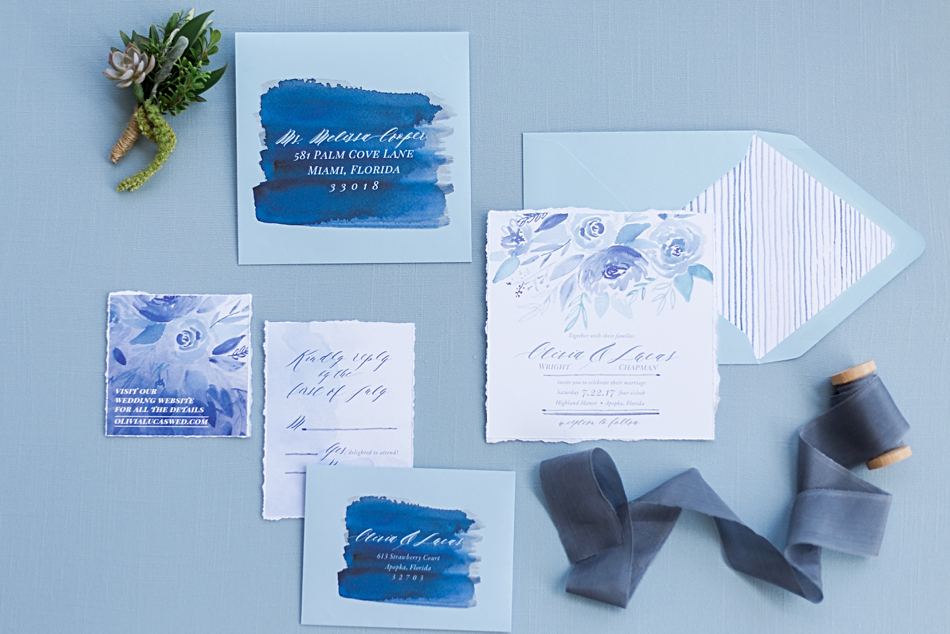 blue invitation suite by lattice tree design