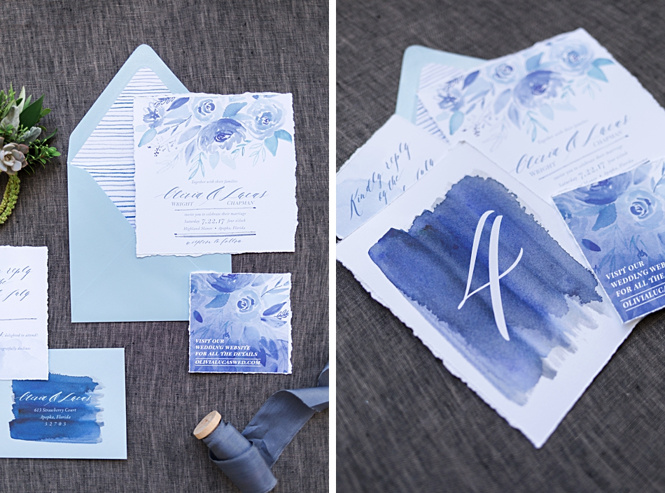 beautiful wedding stationery with hand-painted flowers