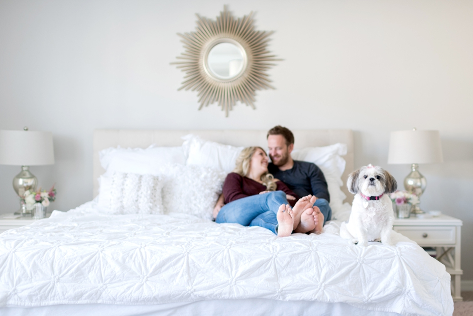 home engagement session in bedroom