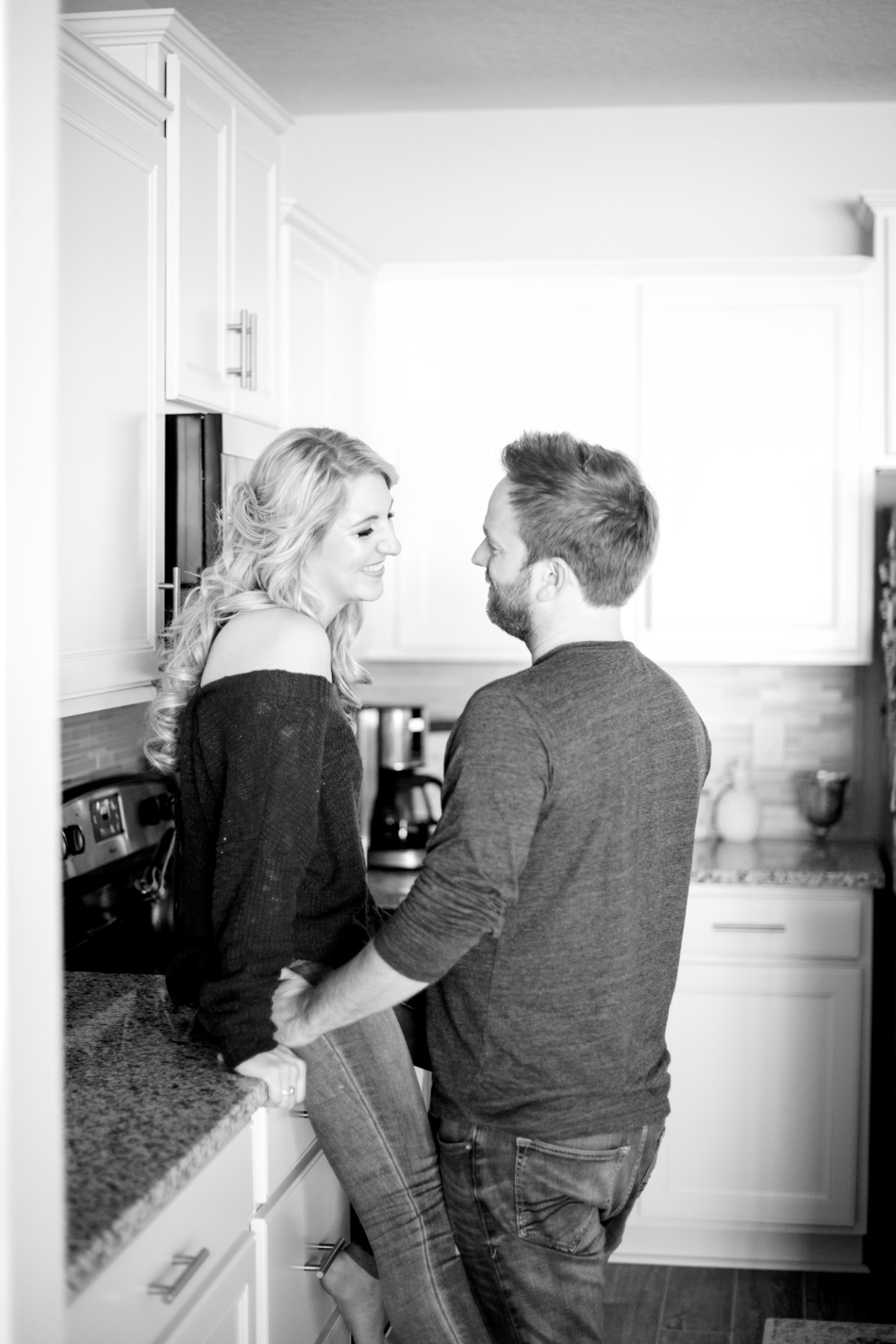 engagement session in kitchen
