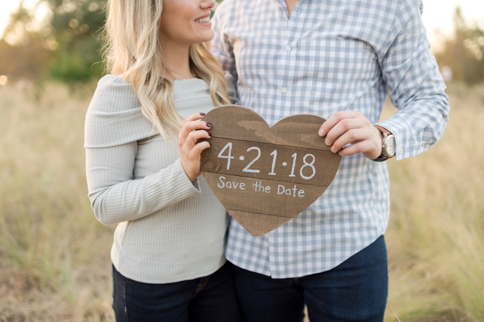 save the date with wooden heart