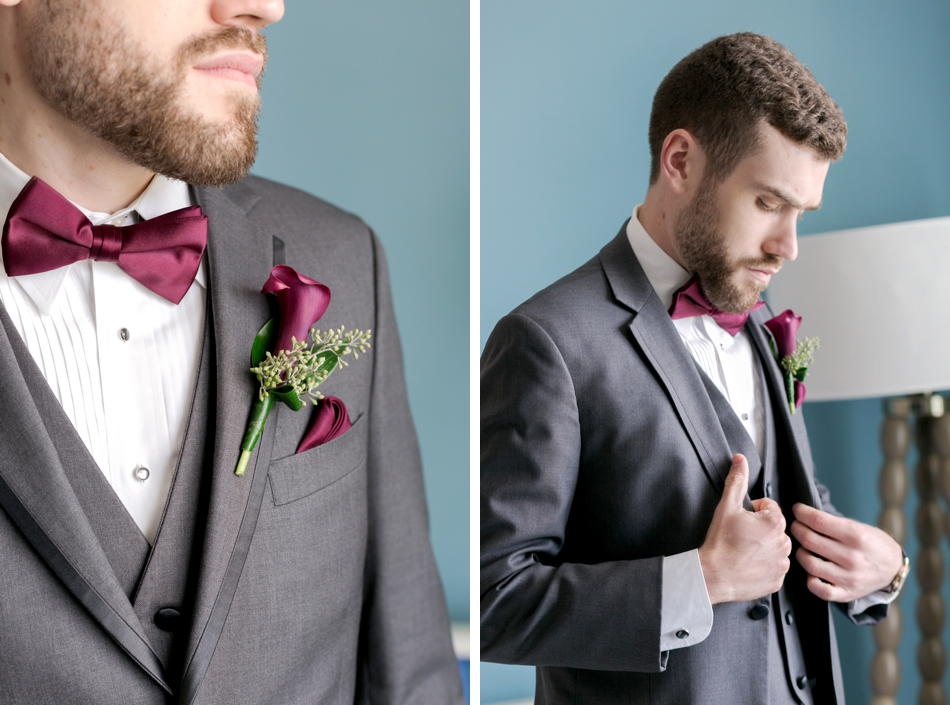 gray groom's suit with burgundy tie