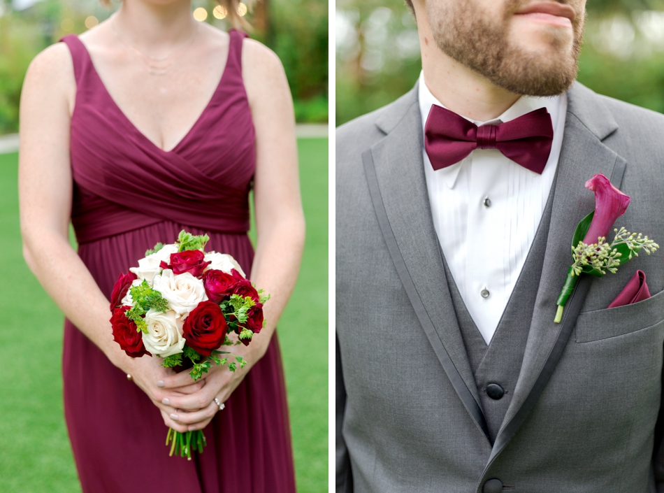 red and gray wedding details