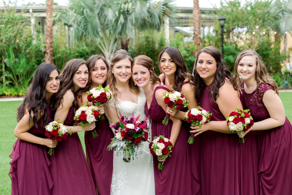 bridesmaids in wine colored dresses