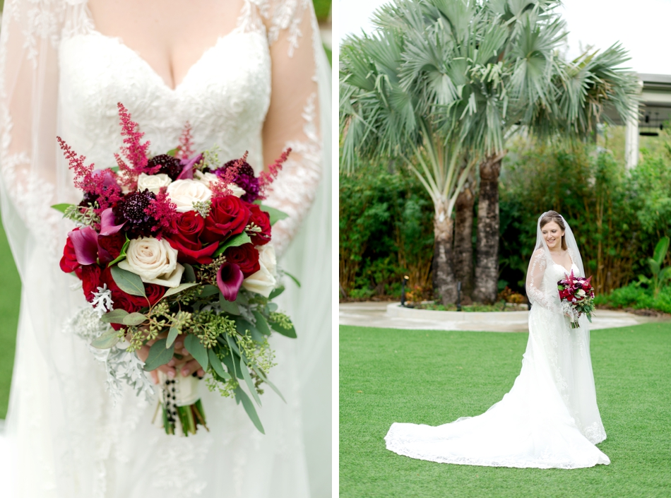 red burgundy wedding bouquet