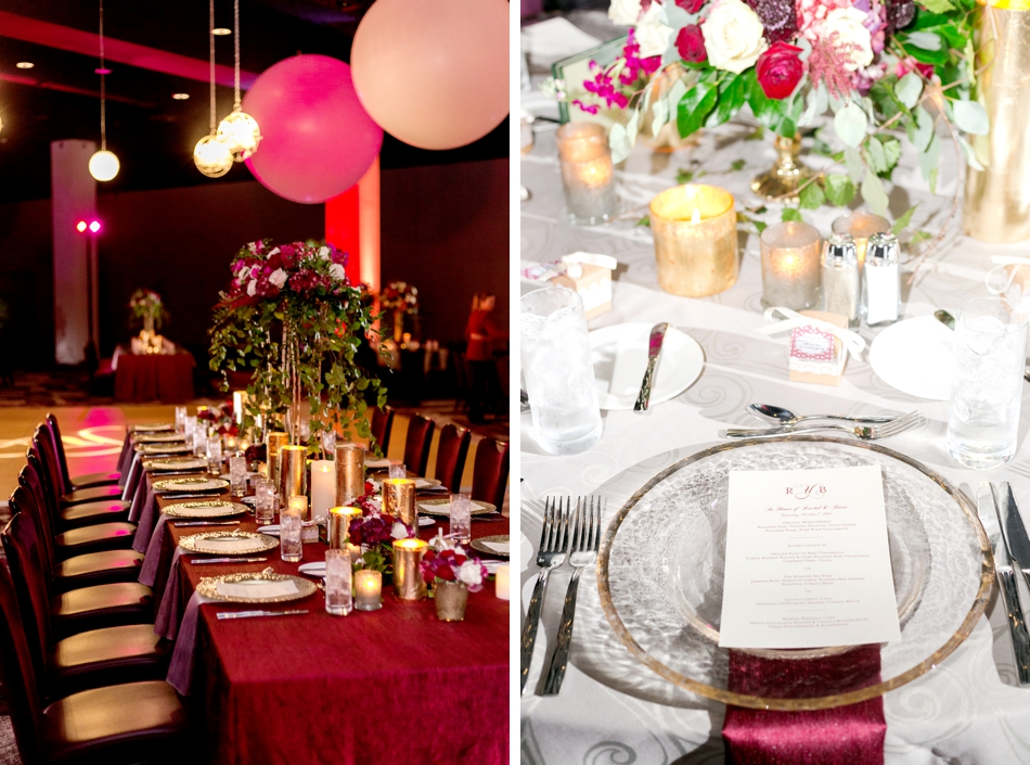 modern red and burgundy reception