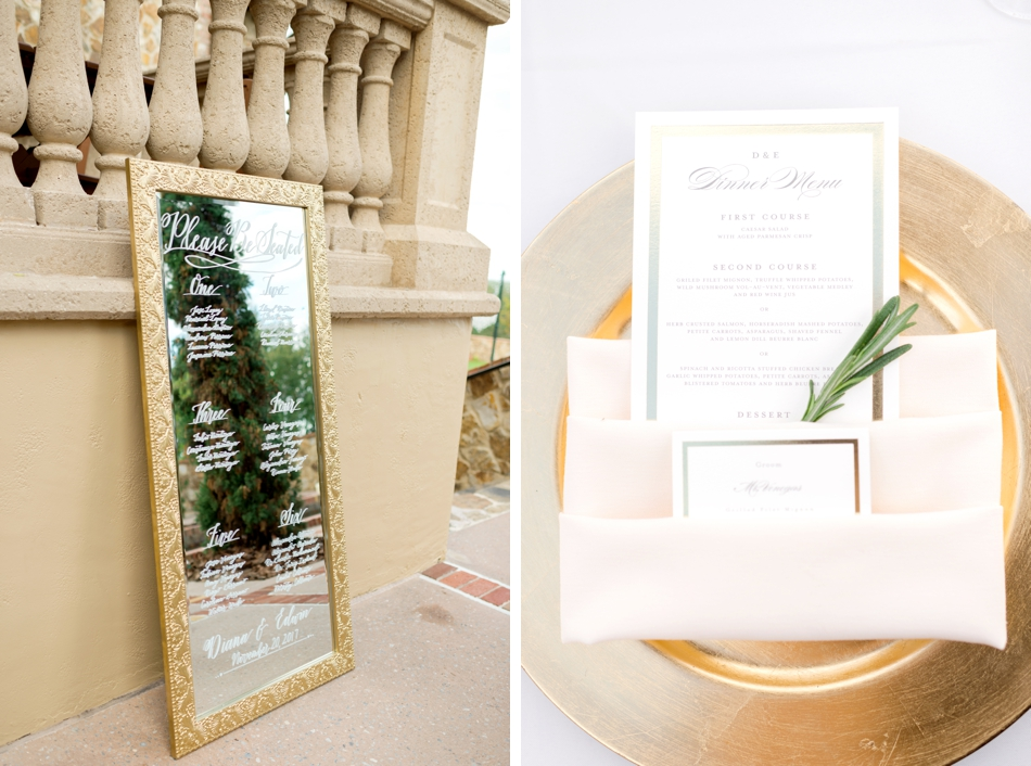 mirror place seating chart at wedding