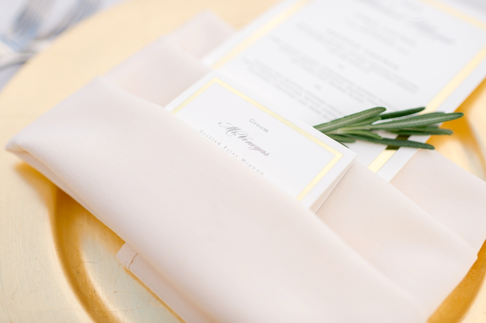 gold trimmed menus
